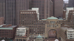 Flying toward arch of Boston Harbor Hotel. Shot in 2011. Stock Footage
