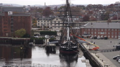 USS Constitution at dock in Boston Harbor. Shot in November 2011. - stock footage