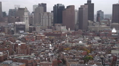 Over Boston's North End; Old North Church comes into view at right. Shot in Stock Footage