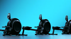 Rowing Machines In Gym. Cardio Health Stock Footage