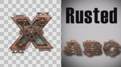 Rendered in PNG with alpha channel loop rusted metal mechanical letter x Stock Footage