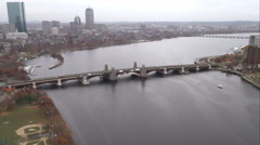 Approaching and flying over Harvard Bridge on the Charles River, Boston. Shot in Stock Footage