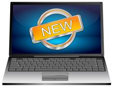 Laptop computer with New Button Stock Illustration