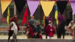 Defocused people in medieval clothes performing traditional dance, singing songs Stock Footage