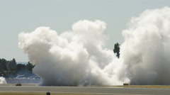 Smoke on tarmac at the Hillsboro Air Show - stock footage