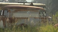 Auto junkyard faded milk truck Stock Footage