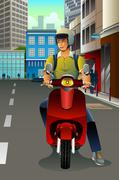 Stock Illustration of Man Riding a Scooter