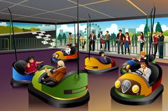 Kids Playing  Car in a Theme Park - stock illustration