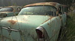 Auto junkyard in the forest, handheld #2 Stock Footage