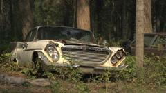 Auto junkyard forest, big Chrysler Stock Footage