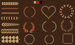 Set of Wreaths, branches, leaf with flat tricolor. Vector illustration. - stock illustration
