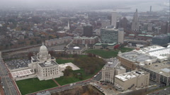 Past capitol building and downtown Providence, Rhode Island. Shot in November Stock Footage