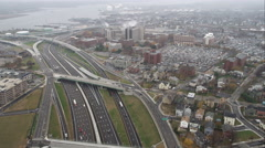 Over freeways and industrial area in Providence, Rhode Island. Shot in November - stock footage