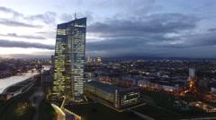 ECB reveals Frankfurt Skyline Stock Footage