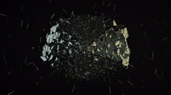 4K glass shattered and broken with slow motion on black Stock Footage