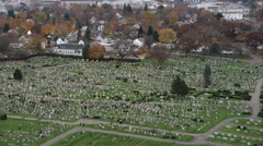 Over cemetery in Providence, Rhode Island. Shot in November 2011. Stock Footage