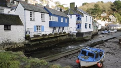 English harbour Cornwall UK out of season in winter quiet professional pan - stock footage