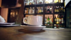 Cup of coffee with sugar is at  bar in a cafe Stock Footage