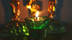 Stock Video Footage of candle lamp burning in the church of Christianity