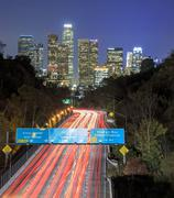 Los Angeles Night Urban cityscape and 110 Freeway - stock photo