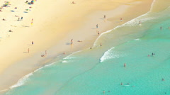 Aerial view of many people on sandy beach at hot summer day on Phuket sea shore Stock Footage