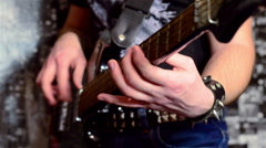 Melodic playing guitar with dance beat. Close up - stock footage