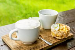A cappuccino and some biscuits on the table and background lands - stock photo