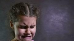 girl cries flow teen tears portrait problems under stress - stock footage