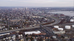 Over freeway, approaching the Providence River in Providence, Rhode Island. Shot Stock Footage