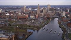Aerial approach to Providence, RI from the south over the Providence River. Shot Stock Footage