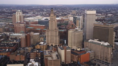 Aerial approach and flyover of Providence, RI. Shot in 2011. Stock Footage