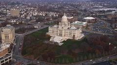 Aerial view of Rhode Island State House. Shot in 2011. Stock Footage