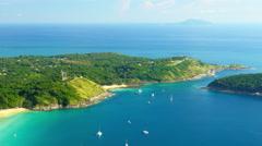 Phuket island, Thailand sea coast aerial background, popular travel destination Stock Footage