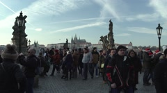 Charles Bridge Prague Day Timelapse Stock Footage