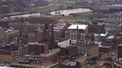 Over older area of Providence, Rhode Island, past historic Grace Church. Shot in Stock Footage