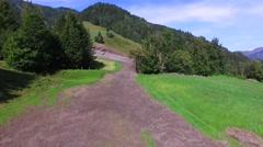Mudslides scar the hillsides of austria following heavy rain. Europe - stock footage