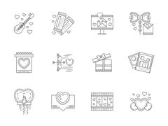 Set of love events line vector icons Stock Illustration
