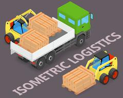 Process of loading the trucks with a forklift - stock illustration