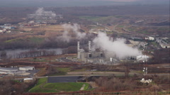 Over industrial plant west of Providence, Rhode Island. Shot in November 2011. Stock Footage