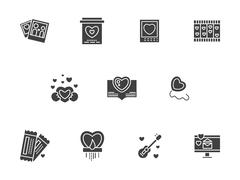 Black silhouette Valentines Day vector icons Stock Illustration