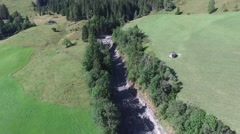 Mudslides scar the hillsides of austria following heavy rain. Europe Stock Footage