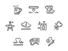 Simple line love relationship vector icons - stock illustration