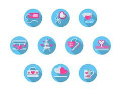Blue round romantic events flat vector icons set - stock illustration