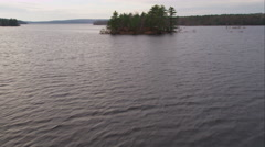 Over islands in Scituate Reservoir west of Providence, Rhode Island. Shot in Stock Footage