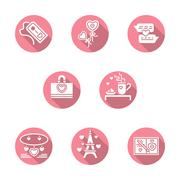 Happy Valentines Day round pink vector icons Stock Illustration