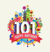 Stock Illustration of Happy birthday 101 year greeting card poster color