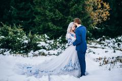 groom in a blue suit and bride in white in the mountains Carpathians - stock photo