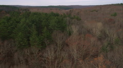 Flying over forest and lake in western Rhode Island. Shot in November 2011. Stock Footage