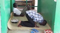 Africa village praying muslim Stock Footage