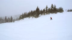 Alpine skiing in fresh powder during snow storm. Stock Footage